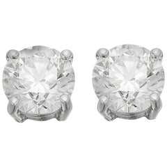 GIA Certified Solitaire Stud Round Brilliant Diamond Earrings total 3.01ct G VS2