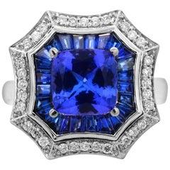 IGL Certified 1.65 Cushion Tanzanite Baguette Sapphire Diamond 14K Cocktail Ring