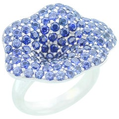 Stylish Floral Blue Sapphire Ring, Part of Jewelry Set