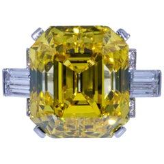 GIA Graded 19.01 Carat Fancy Vivid Orangy Yellow Vs2 Diamond Ring in Platinum