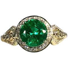 Philip Zahm Designs 18 Karat 1.81 Carat Round Zambian Emerald and Diamond Ring