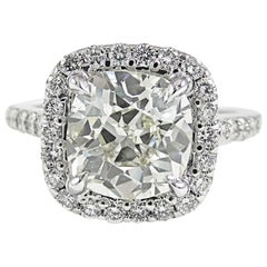 2.65 Carat Antique Cushion Diamond Gold Engagement Ring