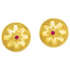 Ruby Yellow Gold 22-Karat Gold 18-Karat Gold Post and Clip Earrings