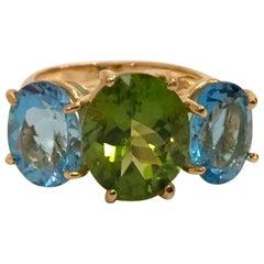 Medium 18 Karat Yellow Gold Gum Drop Ring with Peridot and Blue Topaz