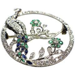 Art Deco Sapphire Emerald and Diamond Brooch, 1920s