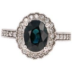 3.05 Carat Sapphire Diamond White Gold Vintage Engagement Ring