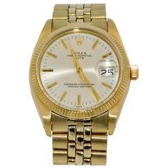 Rolex 14 Karat Yellow Gold Date Silver Streak Dual Jubilee Bracelet Watch