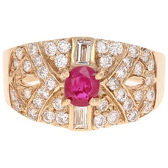 1.04 Carat Ruby Diamond Art Deco Yellow Gold Cocktail Ring