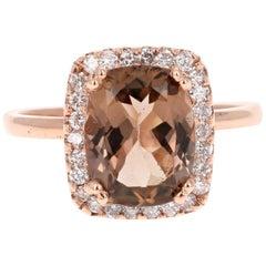 3.45 Carat Tourmaline Diamond Rose Gold Halo Cocktail Ring