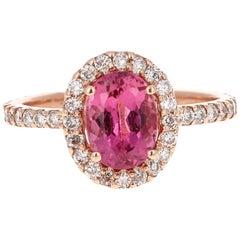 2.42 Carat Pink Tourmaline Diamond Rose Gold Halo Bridal Ring