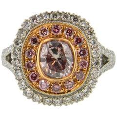 Mark Areias J. Handmade Platinum Pink & White Diamond Ring