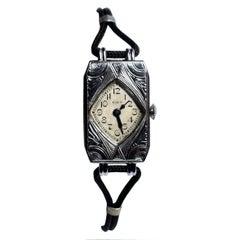 1930s Art Deco Geometric Ladies Watch by Elgin