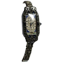 1930s Art Deco Ladies Sapphire Marcasite Enamel Watch with a Filigree Band