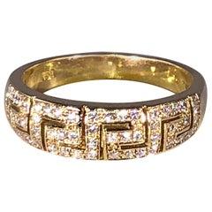 Georgios Collections 18 Karat Yellow Gold Diamond Greek Key Design Ring.