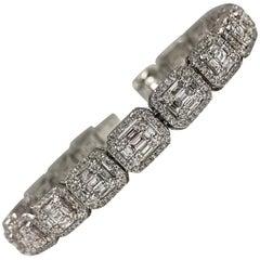 Diamond Cluster Bracelet 18 Karat White Gold 5.78 Carat Total Weight