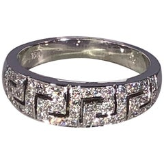 Georgios Collections 18 Karat White Gold Diamond Ring with the Greek Key Design