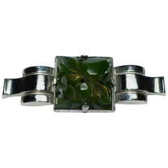 1930s Art Deco Ladies Bakelite and Chrome Brooch