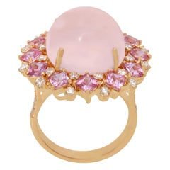 18 Karat Yellow Gold Rose Quarts with Pink Sapphire and Diamond Ring