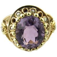 14 Karat Yellow Gold Amethyst and Pearl Ring