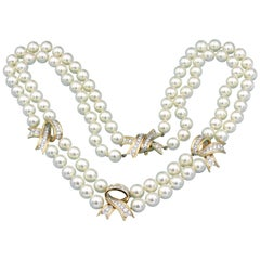 Tiffany & Co. Diamond Pearl Double 2-Strand Necklace 18 Karat Yellow Gold