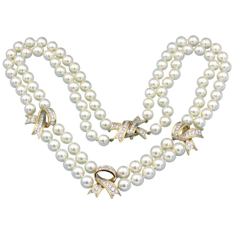 Tiffany & Co. Diamond Pearl Double 2-Strand Necklace 18 Karat Yellow Gold
