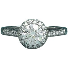 Tiffany & Co. Soleste Platinum Round Diamond Engagement Ring 1.11 Carat G VVS1