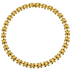 Tiffany & Co. Signature X Necklace in 18 Karat Yellow Gold Large Size