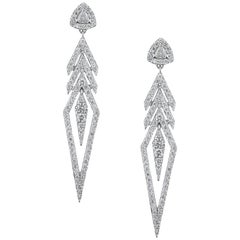 18K White Gold & 2.92 cts Colorless Diamond Arrow Earrings by Alessa Jewelry