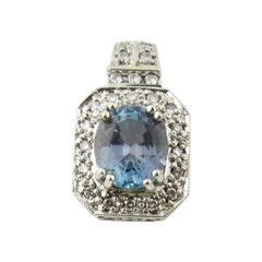 14 Karat White Gold Blue Topaz and Diamond Pendant