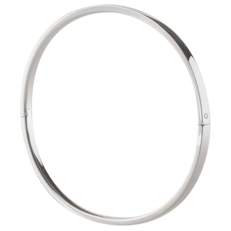 Solid 14 Karat White Gold Closed Bangle Bracelet