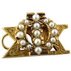 Phi Sigma Kappa 10 Karat Yellow Gold Pendant Chased Etching Seed Pearls
