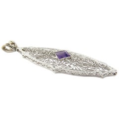 14 Karat White Gold Genuine Amethyst Filigree Pendant