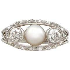 Antique Pearl and Diamond White Gold Cocktail Ring