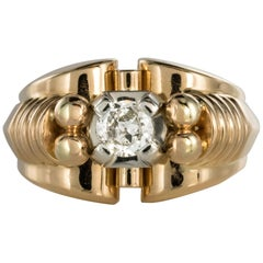 French 1950s Diamond 18 Karat Yellow Gold Retro Tank Ring