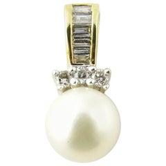 10 Karat Yellow Gold Pearl and Diamond Pendant