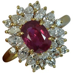 Natural Ruby and VS Diamond 18 Carat Gold Cluster Ring