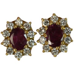 Pair of Ruby and Diamond 18 Carat Gold Stud Cluster Earrings