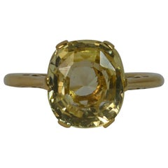 Certified 3.65 Carat No Heat Ceylon Yellow Sapphire 18 Carat Gold Solitaire Ring