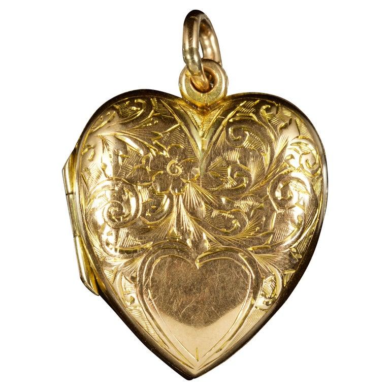 Antique Edwardian Heart Locket 9 Carat Dated 1904
