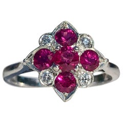 Round Ruby and Diamond Art Deco Style Cocktail Anniversary Ring 18 Karat