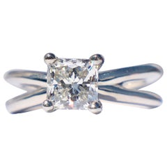 GIA Princess Cut White Diamond Solitaire Engagement Ring 18k Gold
