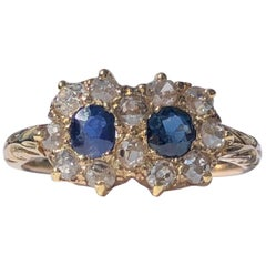 Vintage Old Cut Diamond and Sapphire 18 Karat Yellow Gold Cocktail Ring
