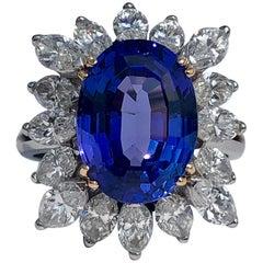 Oval AAA+ Tanzanite 5.90ct White Marquise Cut Diamonds 3.00ct 18k Gold
