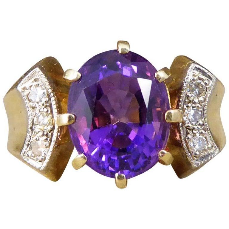 Vintage Vibrant 3.05 Carat Amethyst and Diamond 18 Karat Gold Ring