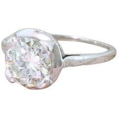 Art Deco 1.63 Carat Old European Cut Diamond 18 Karat Gold Engagement Ring