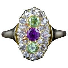 Antique Victorian Suffragette Peridot Amethyst Diamond Ring 18 Carat, circa 1900
