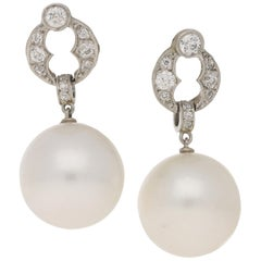18 Karat Gold Diamond Akoya Pearl Drop Earrings