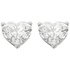 GIA Certified Solitaire Stud Heart Brilliant Diamond Earrings 2.01 cts each G VS