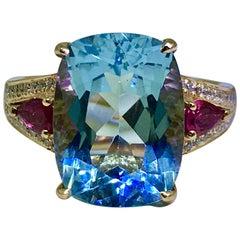 Aquamarine & Pink Tourmaline Pave White Diamond Cocktail Ring 18k Yellow Gold
