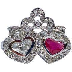 White Diamond Heart Red Ruby Love Anniversary Engagement Sister Ring 18k Gold